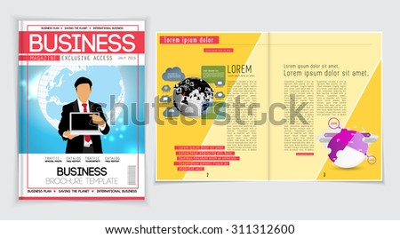 Layout magazine. Editable vector - stock vector