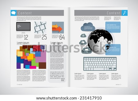 Layout magazine, vector eps10  - stock vector