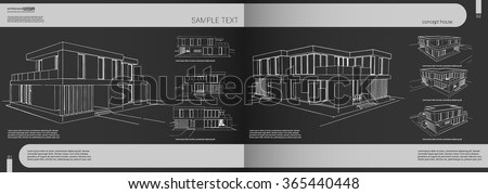 Layout portfolio architect, background, cover, heading for the architectural design, architectural brochure, content. Easy to edit. Vector brochure template, layout, house and back page headline art. - stock vector