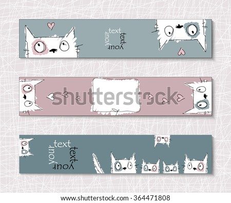 Layout postcards, posters or banners with creative cats and kittens.  EPS10 vector file organized in layers for easy editing. - stock vector