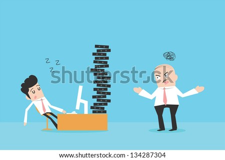 Lazy businessman and angry boss - stock vector