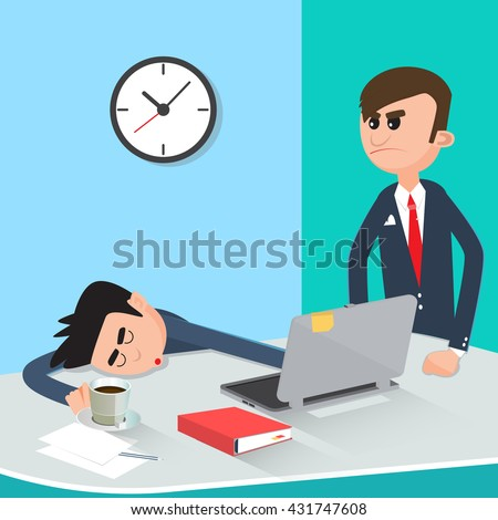 Lazy Businessman Sleeping at Work. Angry Boss Found Sleeping Worker.  Vector illustration - stock vector