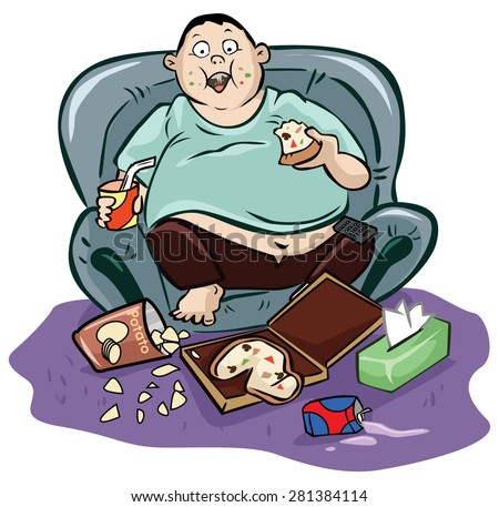 Lazy Person On Couch Cartoon Lazy fat man - stock v...