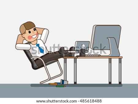 Lazy office worker sitting at a desk but do not want to work. Hand drawn cartoon vector illustration for business design and infographic. Vector illustration Eps10 file.