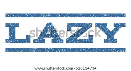 Lazy watermark stamp. Text tag between horizontal parallel lines with grunge design style. Rubber seal cobalt blue stamp with unclean texture. Vector ink imprint on a white background.