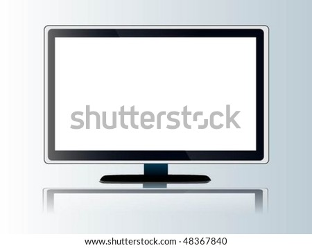 lcd monitor isolated on white - stock vector