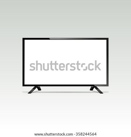 LCD or LED tv screen. Display blank, technology digital, electronic equipment, mockup. Vector illustration - stock vector
