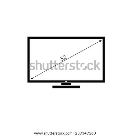 lcd tv black and white vector illustration - stock vector
