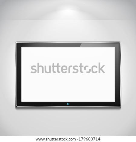 LCD TV hanging on the wall, vector eps10 illustration - stock vector