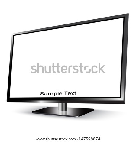 lcd tv monitor isolated on white - stock vector