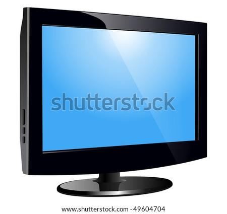 lcd tv monitor, realistic vector illustration. - stock vector