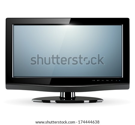 lcd tv monitor, vector illustration - stock vector
