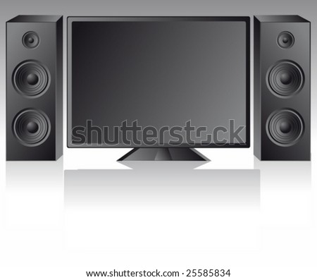 lcd vector tv with speakers - stock vector