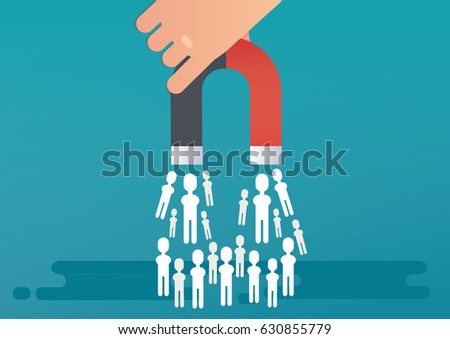 Lead generation concept with magnet. Vector illustration
