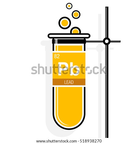 Lead symbol on label yellow test stock photo photo vector lead symbol on label in a yellow test tube with holder element number 82 of urtaz Image collections