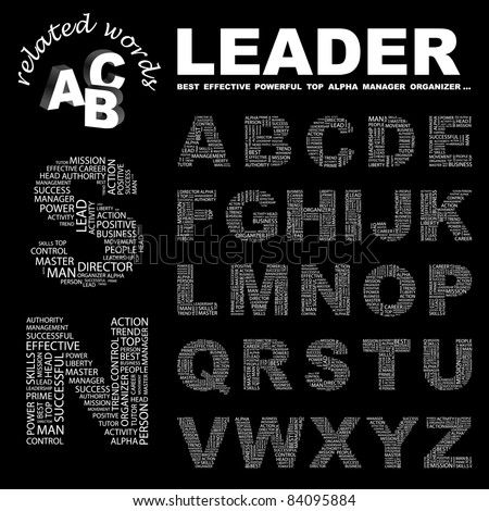 LEADER. Abc. Wordcloud illustration. Illustration with different association terms.