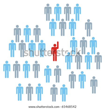 Leader at front of a team group company congregation corporation or population of symbol people. - stock vector