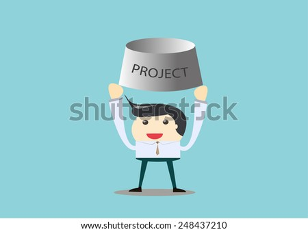 leader carry big project  in vector - stock vector