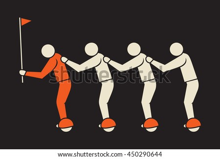 leader followed by his team on self-balancing  boards - stock vector