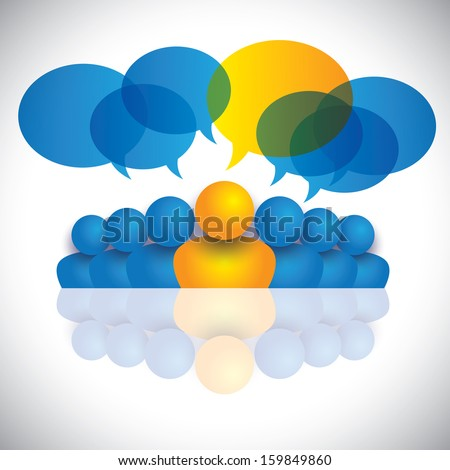 leader & leadership concept or manager & office staff. This unusual vector graphic also represents people conference, social media interaction & engagement, children talking, employee discussions - stock vector