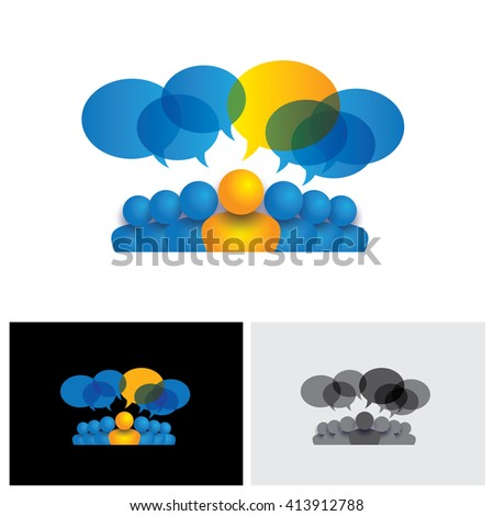 leader & leadership concept or manager & office staff vector icon. This also represents people conference, social media interaction & engagement, children talking, employee discussions - stock vector