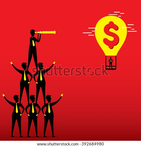 leader make pyramid find big money balloon concept design vector
