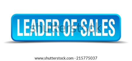 leader of sales blue 3d realistic square isolated button