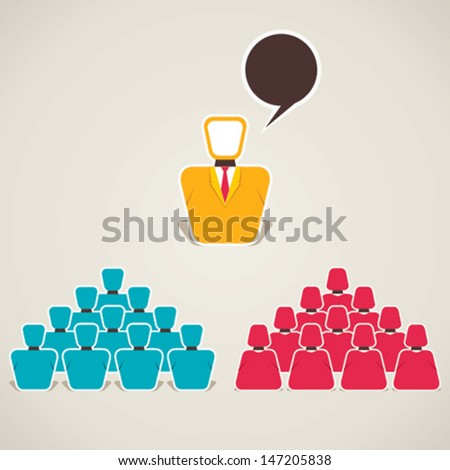 leader teach his team or discussion stock vector - stock vector