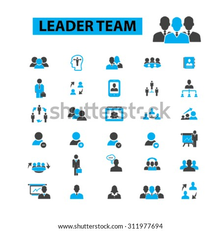 Leader team concept icons:  teamwork,  business team,  team building,  group,  together,  business people,  leadership,  lead,  management,  winner,  business leader. Vector illustration - stock vector