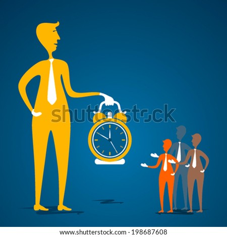leader with big clock aware about time to member concept vector - stock vector