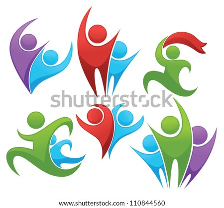 leadership and victory vector collection of sportive symbols - stock vector