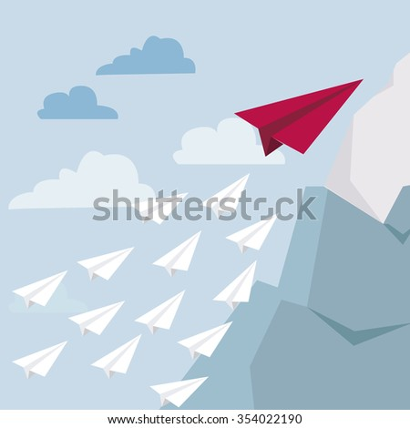 Leadership concept. One red leader plane leads other white planes forward. Business goal  flat design. - stock vector