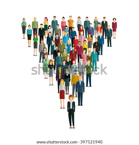 leadership concept. People follow the leader. Vector illustration of a leader and a team. Flat design. - stock vector