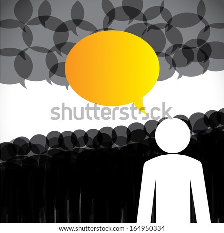 leadership concept vector - leader & followers discussion. This abstract graphic also represents company board meeting, social media concept, global people interaction, internet & web communication - stock vector