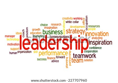 Leadership conceptual text word cloud  - stock vector