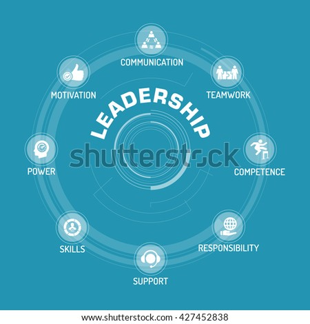 Leadership ICON SET ON BLUE BACKGROUND - stock vector
