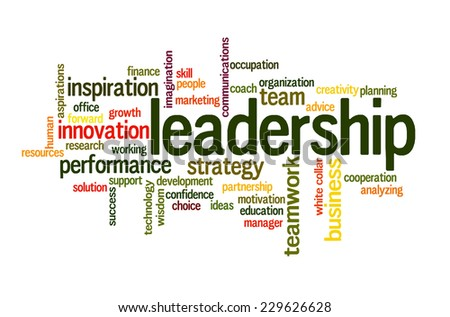 Leadership in business future concept word cloud