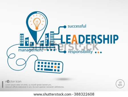 Leadership word cloud and marketing concept. Leadership concept for application development, creative process. - stock vector
