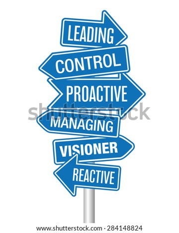 Leading and Managing arrows - stock vector