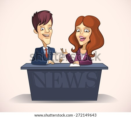 Leading man and woman in the studio of tv news