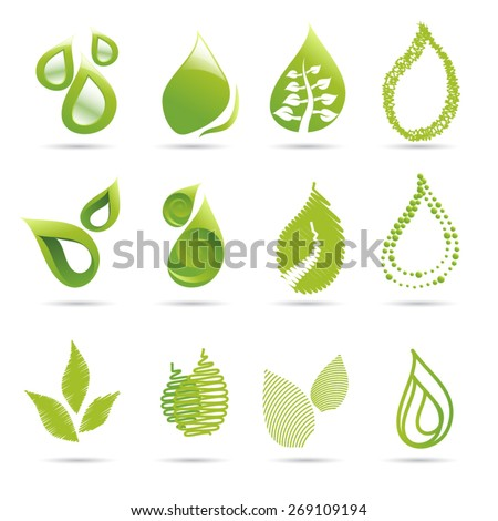 Leaf abstract vector logo design template. Leaf green 3d. Volume and flat icons leafs. EPS 10 - stock vector