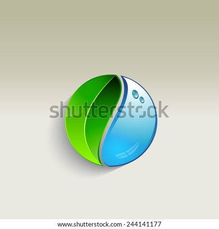 Leaf and a drop of water - vector illustration