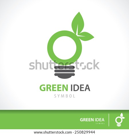 leaf and light bulb shape symbol icon. Green idea concept. Vector illustration. Logo template design for corporate business - stock vector