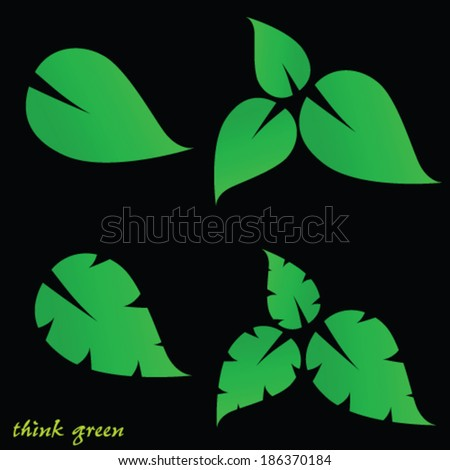 leaf and think green vector on black background - stock vector