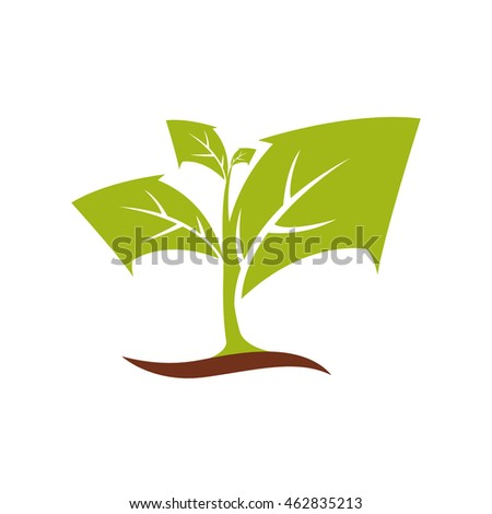 leaf arrow plant green nature ecology icon. Isolated and flat illustration. Vector graphic