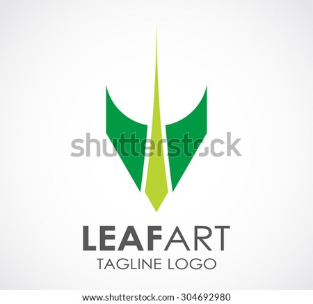 Leaf art green natural abstract vector logo design template environment business icon ecology company identity symbol concept - stock vector