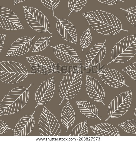 Leaf background, seamless pattern, brown color