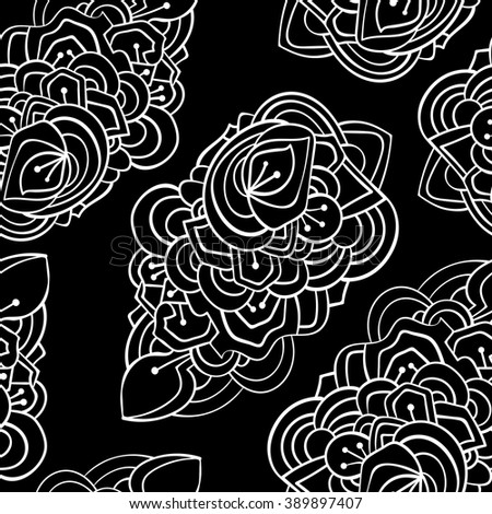 Leaf black and white seamless pattern