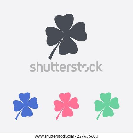 Leaf clover sign icon. Saint patrick symbol. Ecology concept. Flat design style. - stock vector