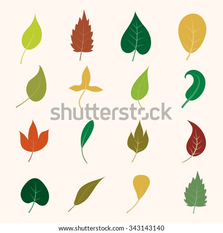 Leaf collection. Leaf icons. Leaves set